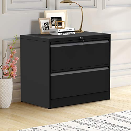 ModernLuxe Heavy-Duty Lateral File Cabinet (Black, 2-Drawers:35.4W17.7D28.4H) (2 Drawer Lateral File Cabinet Metal Black)