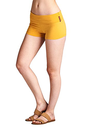 Yellow Spandex - Emmalise Active Junior Women Fold Over Low Rise Short Cotton Spandex Yoga Workout Dance - Mustard, Large