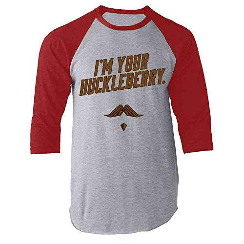 I'm Your Huckleberry Western Quote Funny Vintage Red S Raglan Baseball Tee Shirt