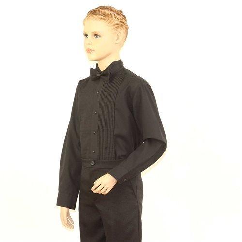 SixStarUniforms Boys Black Tuxedo Shirt with Wing Tip Collar - Medium/Neck(12-12.5) by SixStarUniforms (Image #2)