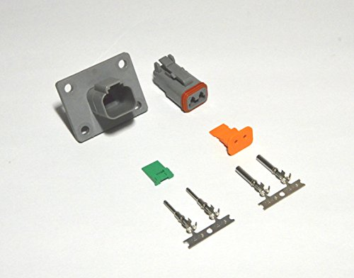 Deutsch 2-pin 14-16AWG Flange Connector Kit Crimp Style Contacts