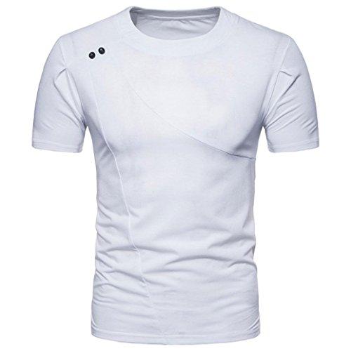 Bluestercool Fashion Hommes Casual Slim Manches Courtes Col Rond T-shirt Top Blanc