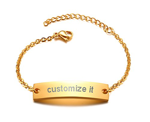 PJ Personalized Jewelry Monogram Engraved Plain Chain & Link ID Bracelets for women,Her Gift,Gold ()