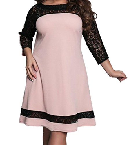 Size Plus Lace 5XL Collision Women Coolred Pockets Color Pink Splicing Dresses W4nIX4wvxq