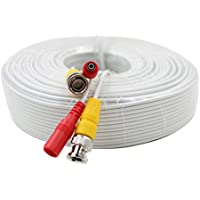 eSecure 125FT Professional Grade RG59 Siamese Combo Coaxial Cable Pre-made All-in-One BNC Video Power Cable for HDTVI, HDCVI, AHD Camera and Analog CCTV Camera, WHITE