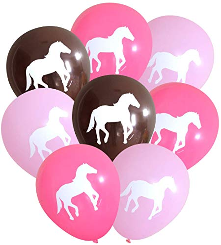 Nerdy Words Horse Latex Balloons, 16 Count (Pinks & Dark Brown) -