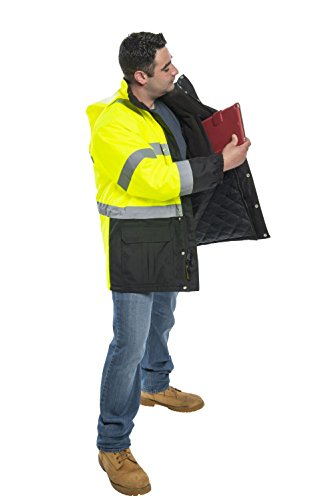 Utility Pro UHV1004 Nylon Quilted Lining High-Vis Contractor Parka Jacket with Dupont Teflon fabric protector,  Lime/Black,  2X-Large by Utility Pro (Image #4)