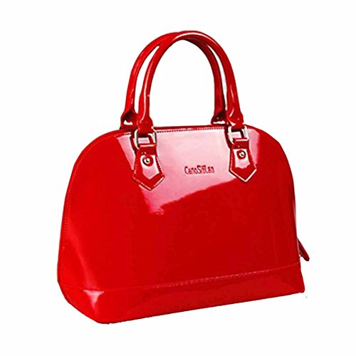 Red Shoulder Bag Purse (Mily Dome Satchel Handbag Patent Leather Bag Candy Color Jelly Shoulder Bag Tote Red)