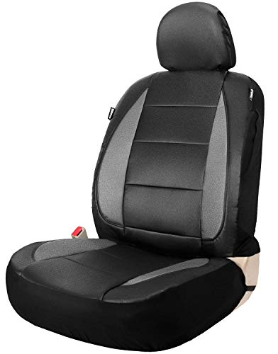 (Leader Accessories Faux Leather Seat Cover for Car Truck SUV Front Seat Black/Grey with Airbag Universal Fit)