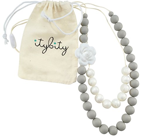(Baby Teething Necklace for Mom, Silicone Teething Beads, 100% BPA Free (Custom Soft Gray/Pearl))