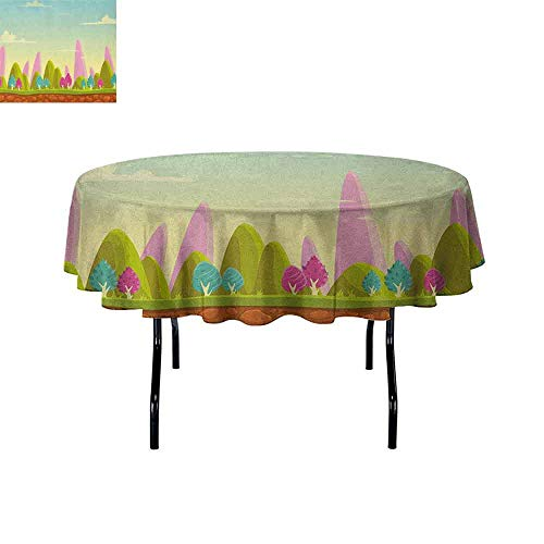 DouglasHill Forest Washable Tablecloth Fantasy Cartoon Landscape for Kids and Toddlers Colorful Trees Country Panorama Dinner Picnic Home Decor D40 Inch Multicolor