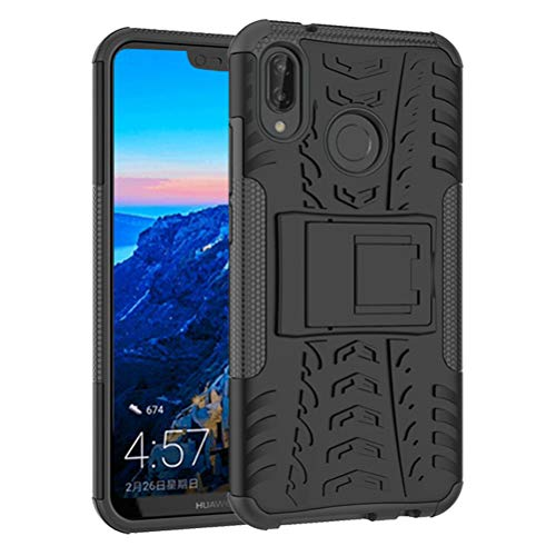 Pattern Tyre - Huawei P20 Lite Case, Tyre Pattern Design Heavy Duty Tough Armor Extreme Protection Case with Kickstand Shock Absorbing Detachable 2 in 1 Case Cover for Huawei P20 Lite 2018. Hyun Black