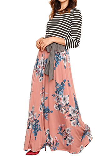 Makkrom Womens Maxi Dresses 3/4 Sleeve High Waist Floral Pleated Long Dress With (Blend Pleated Dress)