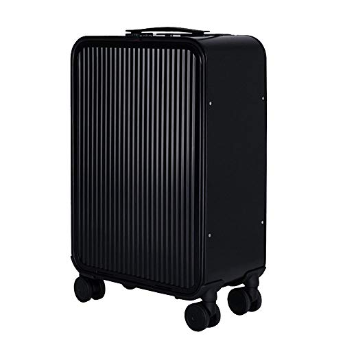 LIYONG Luggage Sets, Luggage Travel Suitcase Password Box Trolley Case Spinner Luggage Protective Cover for 16/20/24Inch,Multi-Select Color (Color : Black, Size : 24 inches) Aluminum Frame Multi Stripes