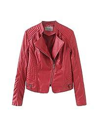 VEZAD Store Winter Warm Women Short Coat Leather Jacket Parka Zipper Overcoat Outerwear
