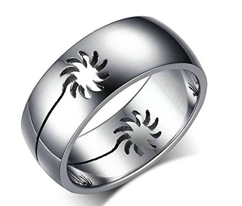 KnSam Men Wedding Bands Stainless Steel Sunflower Silver Size 11 [Novelty Rings]
