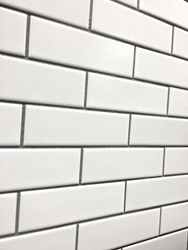 Ceramic Mosaic Wall - 2x6 Matte Finish White Brick Ceramic Mosaic Tile Walls and Floors