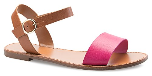 OLIVIA K Women's Strappy Slingback Open Toe Adjustable Leatherette Ankle Strap Flat Sandals- Casual, Everyday, Summer