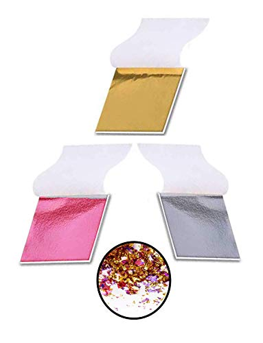 XP-Art 300 Imitation Gold Leaf Silver Leaf Pink Leaf Leafing Sheets Foil Paper for Slime Nails Paintings Statues Face Wall Furniture Decorations