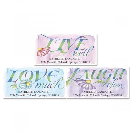 Live, Love, Laugh Personalized Return Address Labels- Set of 144, Large Self-Adhesive, Flat-Sheet Labels (3 Designs) By Colorful Images