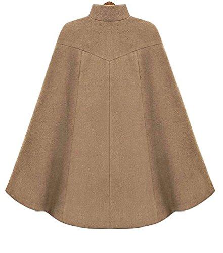 WanYang Moda Mujer Chaqueta de Invierno capote Poncho Estilo abrigo camello