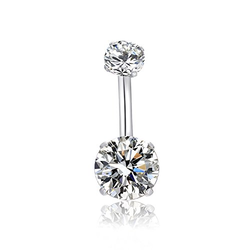 MO SI YI 3-6 Pcs14G Surgical Steel Belly Button Ring Navel Rings with Round Cubic Zirconia Barbell Stud Piercing Screw Bar Design Body Piercing (1 PC Clear) ()