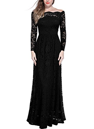 Miusol Womens Vintage Off Shouler Floral Lace Long Sleeve Formal Maxi Dress, Small, Black
