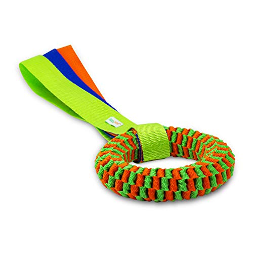 happyhund Dog Tug Toys - Rope & Webbing Material for Toughness & Durability - Great for Tugging, Fetching, Frisbee, Chewing, Training & More - Built for Heavy Chewers (Webbed Ring with Handle)