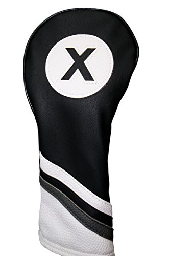 Fairway Fit Wood - Golf Headcover Black and White Leather Style #X Fairway Head Cover Fits Fairway Wood Clubs