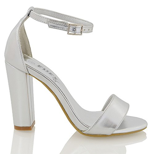 3 Strappy Ankle Peeptoe GLAM Strap Silver Metallic Sandals Ladies 8 Shoes Heel ESSEX Party Womens Block zp8IBBq7