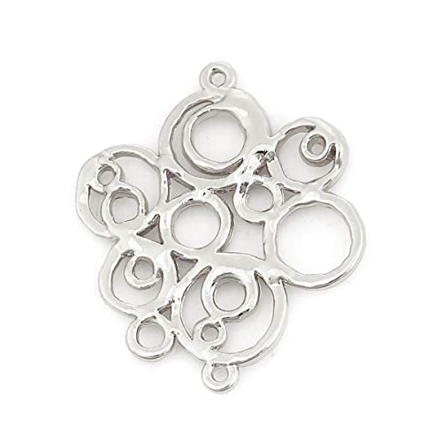 Modern Circle Connector Charms, 10 Pieces, 1 1/4 Inch Long (Silver Tone)