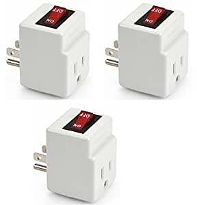 BindMaster 3 Prong Grounded Single Port Power Adapter with Red Indicator On/Off Switch - 3 Pack