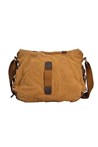 Vococal® Herren Lässige Leinwand Schultertaschen Crossbody Messager Taschen - Männer Laptoptasche Umhängetaschen, Gelblich Khaki