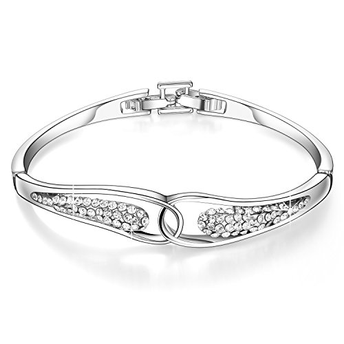 Menton Ezil Elegant Silver Plated Crystal Flexible Hinge Bangle Bracelets for Woman Christmas Gifts (Aquarius Place Steel Stainless)