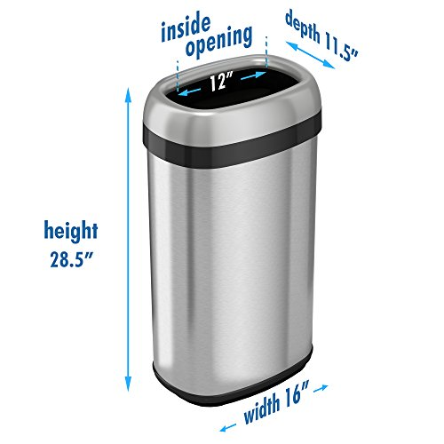 iTouchless 16 Gallon Dual-Deodorizer Oval Open Top Trash Can, Commercial Grade Stainless Steel, 60 Liter Open Garbage Can by iTouchless (Image #4)