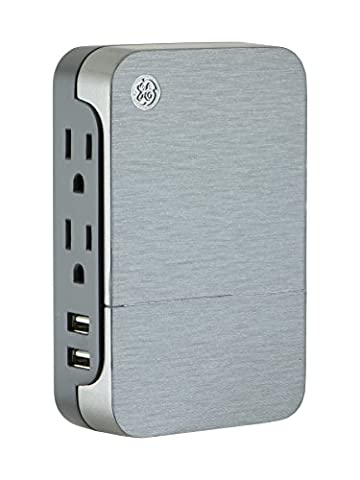 GE Ultrapro 2 Outlet + 2 USB Side Access Surge Protector Tap, Plug-In, 2.4 Amp, 860 Joules, 33642, (Ge 12 Outlet Surge Protector)