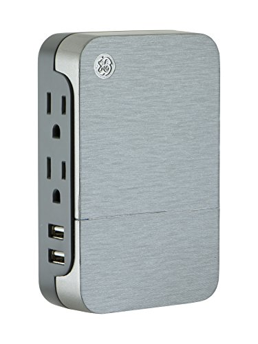 (GE Ultrapro 2 Outlet + 2 USB Side Access Surge Protector Tap, Plug-In, 2.4 Amp, 860 Joules, 33642,)