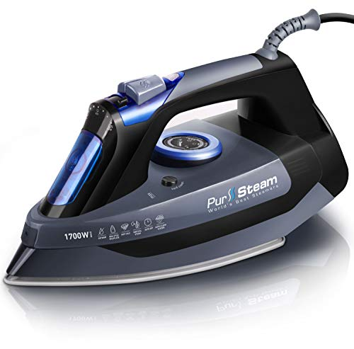 Professional Grade 1700W Steam Iron for Clothes with Rapid Even Heat Scratch Resistant Stainless Steel Sole Plate, True Position Axial Aligned Steam Holes, Self-Cleaning Function