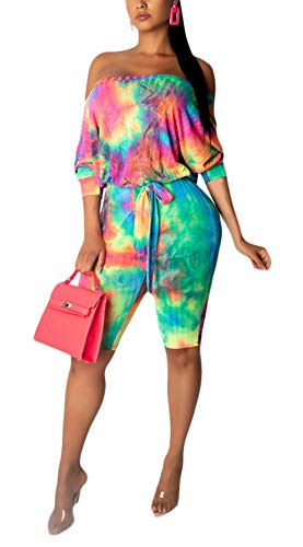 (Women Casual Off The Shoulder Rainbow Print Belted Romper Jumpsuits S-XXL)