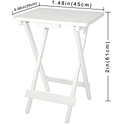 Lifewit Folding Wood TV Tray, Solid Portable Foldable Snack Table Side Table Sofa Table,White