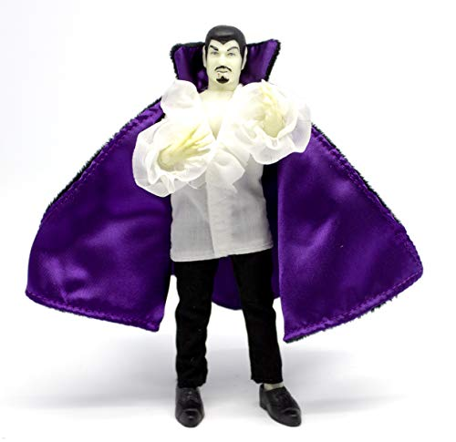 """Mego Action Figures, 8"""" New Mego Glow in The Dark Dracula with Purple Cape  (Limited Edition Collector's Item)"""