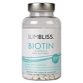 Biotina SlimBliss en tabletas de 10,000mcg, para el crecimiento sano de cabello
