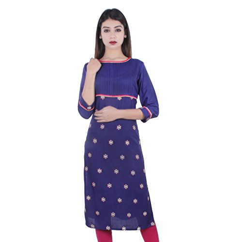 Chichi Indian Women Kurta Kurti 3/4 Sleeve Large Size Printed Straight Dark Blue Top by CHI
