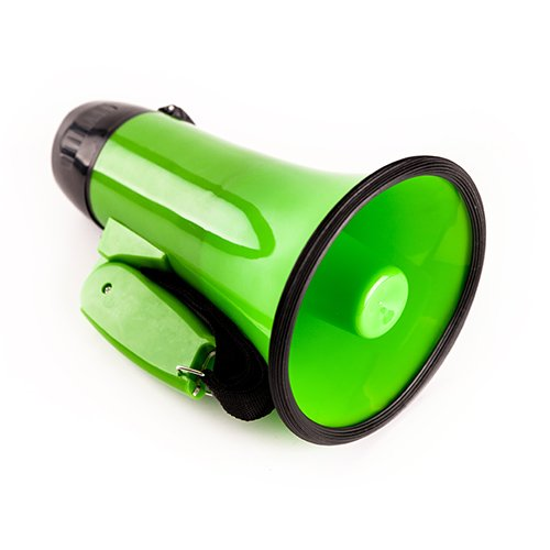 (Sugar home Portable Megaphone 20 Watt Power Megaphone Speaker Bullhorn Voice and Siren/Alarm Modes with Volume Control and Strap (Green))