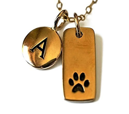 18' Gold Filled Chain - Natural Bronze Paw Print Pendant with small bronze letter charm on a 16
