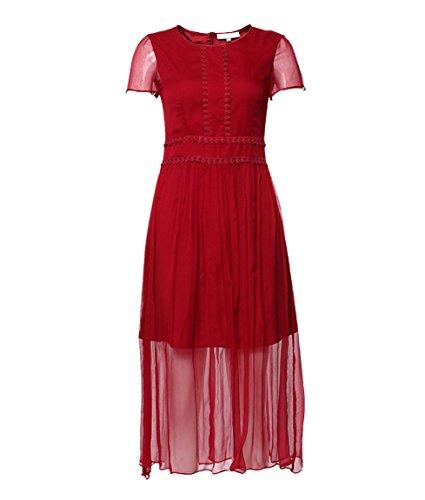 Vestido De Seda De Color Sólido De Las Mujeres De Encaje Perspectiva WineRed
