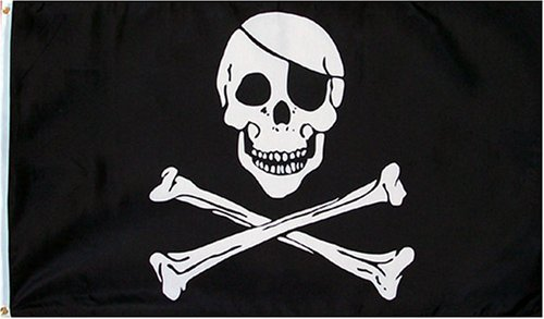(Pirate (Skull and Crossbones) Flag - 3 foot by 5 foot Polyester)