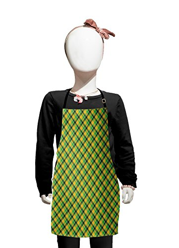 - Lunarable Checkered Kids Apron, Classic Diagonal Cross Stripes British Pattern Nostalgic Folk Motif, Boys Girls Apron Bib with Adjustable Ties for Cooking Baking and Painting, Apple Green Earth Yellow