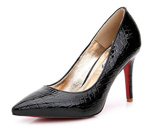 Escarpins En Haut Aisun Aiguille Talon Vernis Mode Noir Femme q4aw7gT