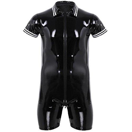 FEESHOW Mens Male PVC Leather Short Sleeve Bodysuit Wet Look Front Zipper Jumpsuit Black XL by FEESHOW